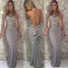 Sexy Women Backless Bodycon stripe Boho Long Cocktail Evening Party Dress