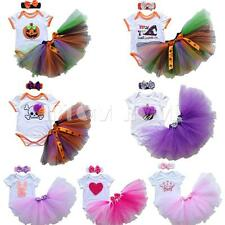 Newborn Baby Girl Romper Outfit Tulle Skirt Halloween Fancy Dress Party Headband