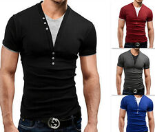 Fake two Pieces Fashion Men T-Shirt Slim short sleeve Deep v-Neck New Summer