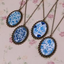 Vintage Bronze Oval Blue Flower Pendant Necklace Time Gem Chain Women Party Gift