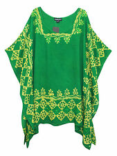 eaonplus GREEN Embroidered BATIK Print Kaftan Tunic Top PLUS SIZES 16 to 32