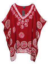 eaonplus DARK RED Embroidered BATIK Print Kaftan Tunic Top PLUS SIZES 16 to 32