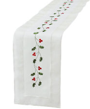Xia Home Fashions Classic Holly Embroidered Cutwork Holiday Table Runner