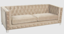 Chesterfield Sectional Sofa Tufted Chaise Tuxedo Gray Linen Couch Nail