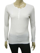 Womens Zara T-Shirt Long Sleeve Top White Size 8 to 12 Ladies A35