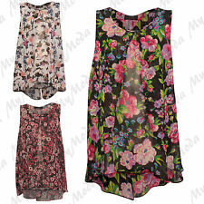 Ladies Women's Floral Print Sleeveless Twin Layered Open Front Summer Top  14-28