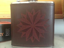 Custom Nautical Rose Engraved Leather Hand Dyed Stainless Steel Flask Wedding