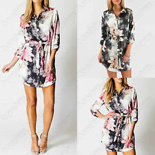 LADIES FLORAL PRINT SHIRT DRESS WOMENS LONG SLEEVED BELTED CHIFFON BLOUSE TOP