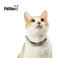 Gold Panda NEW Deluxe PU Leather Shiny Rhinestones Collar Bell for Cat Kitty