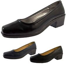 Womens Low Block Heels Comfort Court Shoes Wide Fitting Work Casual Ladies Size