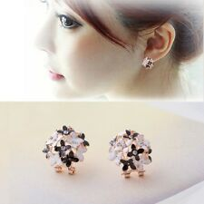 A Pair Rhinestone Ear Stud Earrings Flower Clover Charming Elegant Fashion Women