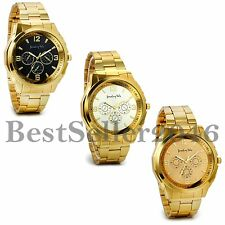 Luxury Men Gold Tone Band Stainless Steel Analog Quartz Fashion Wrist Watch Gift