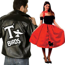 Unisex Couples 1950s Fancy Dress - Womens Mens Red Bopper dress + Grease T-Bird