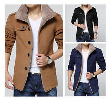 New Men's Casual Slim Parka Fleece Winter Warm Jacket Trench Coat Overcoat