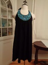 JULIE BROWN turquoise tone beaded silk halter dress/tunic NWT $230 women's M