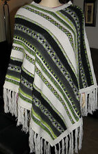 New Made In Peru Womans Alpaca Superfine & Wool Hand Stiched Poncho Size 6 - 10