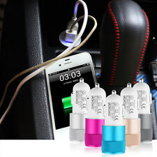 Dual USB Car Charger Adaptor Bullet Shape 2-Port Socket for Phone Tablet  PY