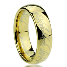6mm Titanium Ring Laser Lord of Rings Yellow Color Band Gift box / Ship from USA