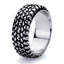 9mm Stainless Steel 316L Ring High Polish Oxidized Black Color Tire Band