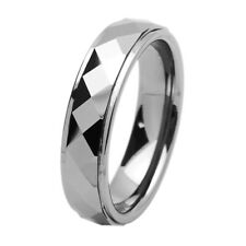 6mm Tungsten Carbide Band Domed Faceted Stepped Edge Ring / Gift box