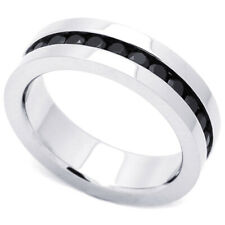 6mm Stainless Steel 316L Ring Black Color CZ Stone Channel Set Eternity Band
