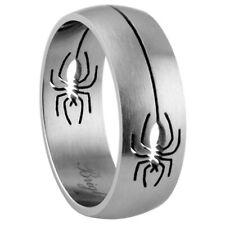 Men 8mm Stainless Steel 316L Matte Finish Spider Design Ring Band Rough polish