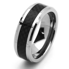 Men's 8mm Tungsten Ring Black Color Carbon Fiber Inlay Band / Gift box