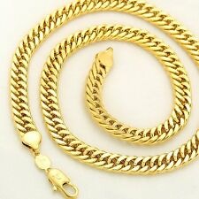 Men's Massive Double Chain Heavy 18k Gold Filled Chain Necklace Gold &Silver