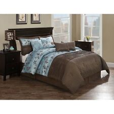 NEW Queen King Bed 8pc Blue Brown Floral Stripe Comforter 4 Deco Pillows Set NWT