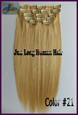 7pcs Remy Hair Clip In 100%Real Human Hair Extensions Golden Blonde Full Head US