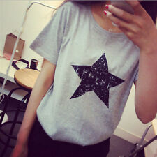 Ladies Women Summer New Casual Shirt Hot Loose Top Pentagram Blouse Cotton