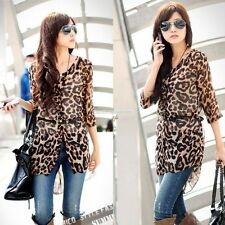 Women's Leopard Chiffon Tunic Half Sleeve Cardigan Long Blouse Tops with Belt EN