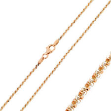 1.5mm 925 Sterling Silver Rock Chain Necklace / Rose Gold Plated made in italy