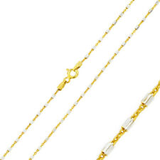 1.35mm 925 Sterling Silver Fancy Tube Chain Necklace / Gold Plated made in italy