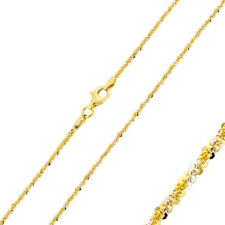 1.45mm 925 Sterling Silver Rock Chain Necklace / 14K Gold Plated made in italy