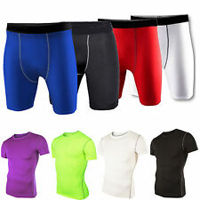 Mens Compression Under Base Layer Top Tight Short Sleeve T-Shirts Shorts Sports