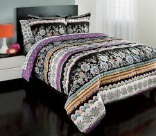 NEW Twin XL Full Queen Bed Bag 7 pc Black Purple Floral Comforter Sheets Set NWT