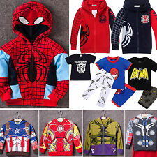 Superhero Hooded Coats T-shirt Pants Outfits Sets Cosplay Boys Toddler Clothes