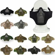Tactical Paintball Airsoft Mask Metal Mesh Nylon Half Face Protector Adjustable