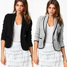 New Womens Lady Long Sleeve Casual Suit Coat Jacket Slim Fit Blazer Tops Outwear