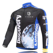 Mens Long Sleeve Cycling Jerseys Thermal Fleece Bicycle Bike Jacket S-5XL