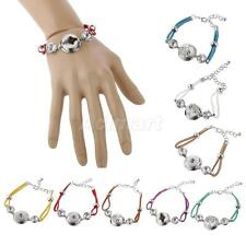 Lady Fashion Jewelry Hand Rope Weaving Button DIY Bangle Bracelet for Noosa