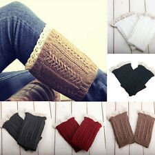 New Fashion Womens Crochet Knit Lace Trim Leg Warmers Cuffs Toppers Boot Socks