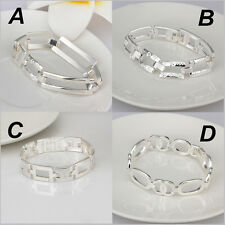 Fashion Sterling Solid Silver Multi-Shaped Bracelet Chain Charm Bangle Jewelry