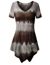 Women Short Sleeve Tie Dye Strip Slim Fitted Casual Fashion Dress Tunic Tops