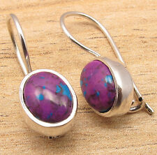 925 Silver Plated Natural PURPLE COPPER TURQUOISE & Other Variation Earrings