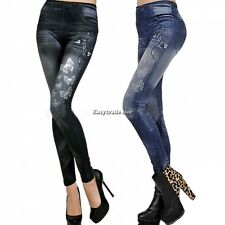 New Women Butterfly Printing Imitation Jeans Leggings Pencil Pants Demin Look