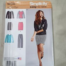 Simplicity S0315 Sewing Pattern Women Misses Easy to Sew Knit Pants Skirt Top