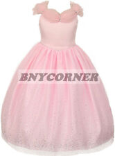 Pink Princess Tiara Glitter Holiday Pageant Flower Girl Dress Formal Wedding