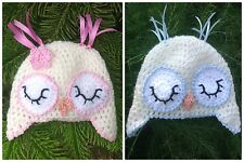 Baby girls/boys Owl hat  crochet, newborn photo prop baby shower gift, Easter